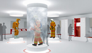 Showcase with smoke simulation