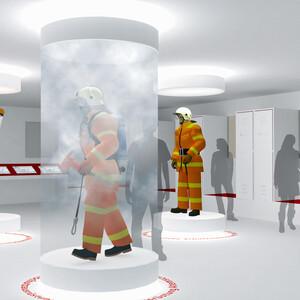 Showcase with smoke simulation