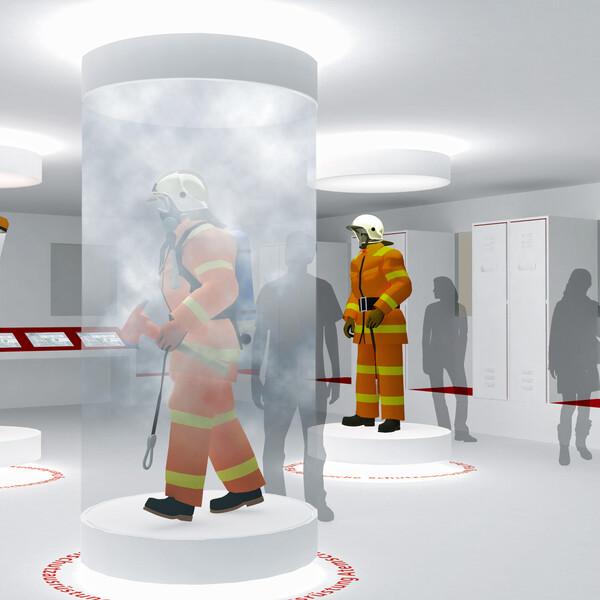 Vitrine avec simulation de fumée