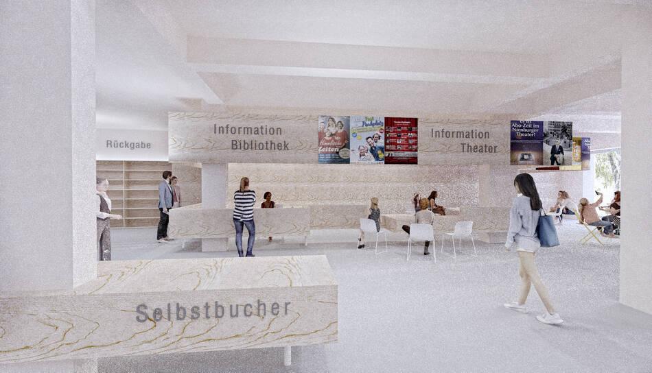 Infotheke Bibliothek und Theaterkasse im Erdgeschoss