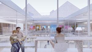 Atrium de perspective avec des lieux de lecture