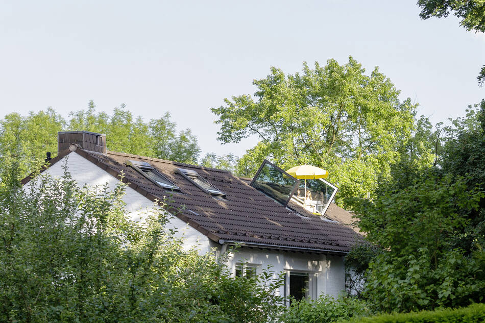 Sundeck and yellow parasol