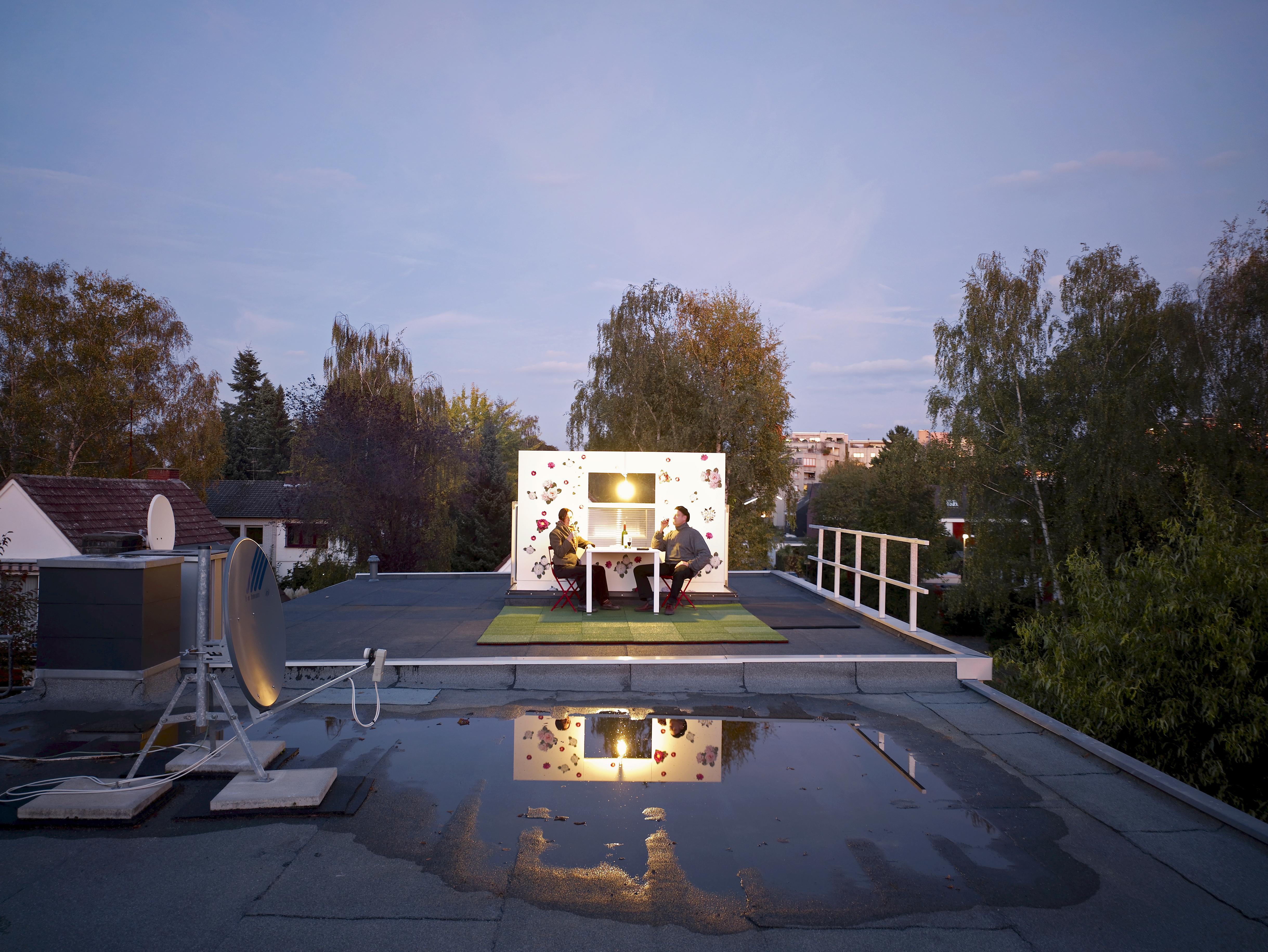Dachgarten im Abendlicht